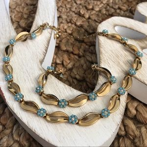 1950's Trifari Blue Flwr Wedding Necklace/Bracelet